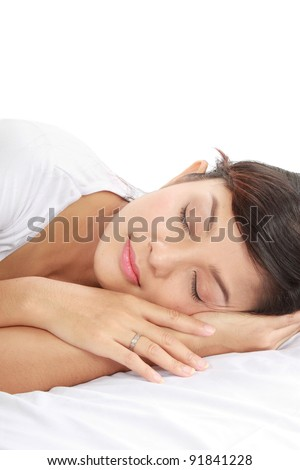 close up shot of beautiful sleeping woman with copy space on top of her - stock photo