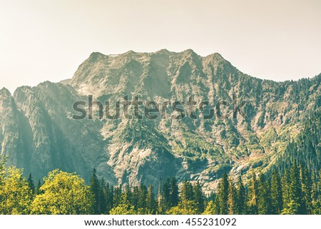 Close up shot of Big Four Mountain, Washington State, USA in summer. Big Four Mountain is in Mt Baker-Snoqualmie National Forest. Famous for its ice caves. - stock photo