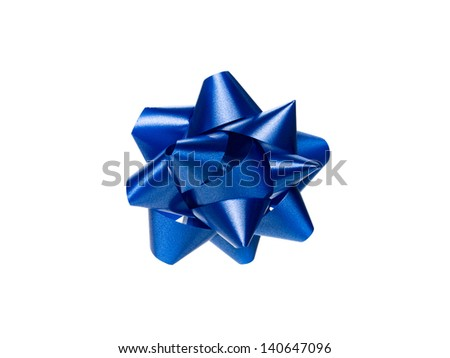 Close-up shot of blue shiny gift in a close-up image. - stock photo