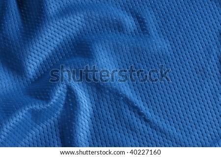 Close up shot of blue textured football jersey - stock photo