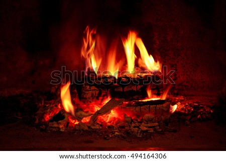 Close up shot of burning firewood in the fireplace.
