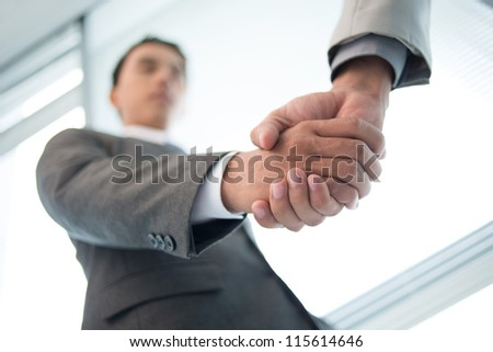 Close-up shot of business partners concluding an agreement by shaking hands - stock photo