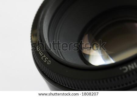 Close up shot of camera lens - stock photo