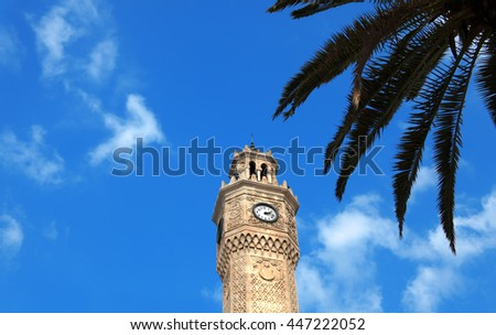 close up shot of clock tower in izmir