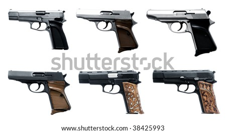 close up shot of different guns on white