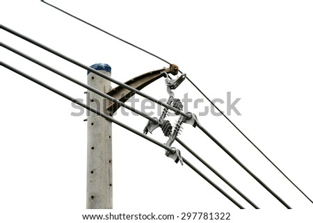 Close up shot of electric power lines link isolated on white