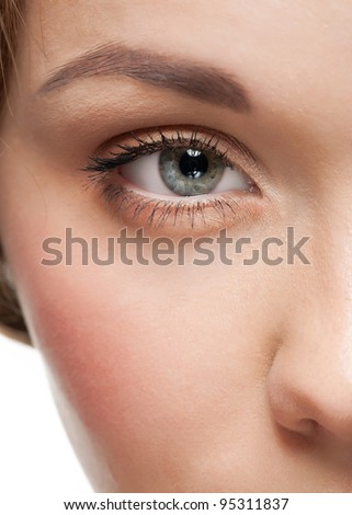 Close-up shot of female eye with beautiful makeup - stock photo