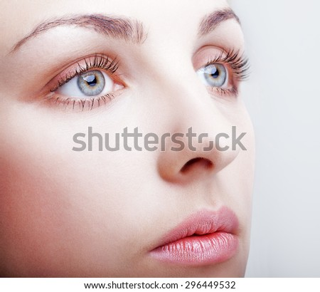 Close-up shot of female face makeup