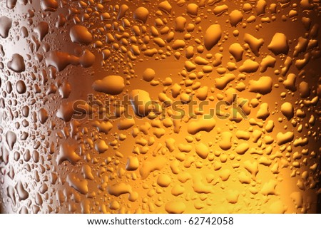 Close up shot of frosty beer glass. - stock photo