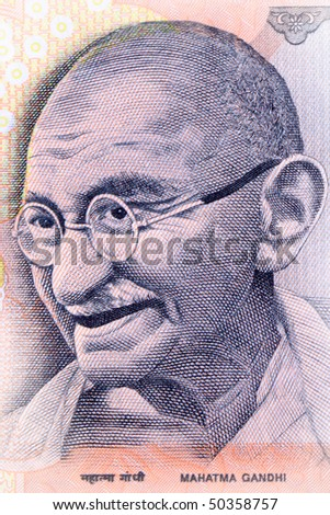 Close up shot of Gandhi on Indian rupee note - stock photo