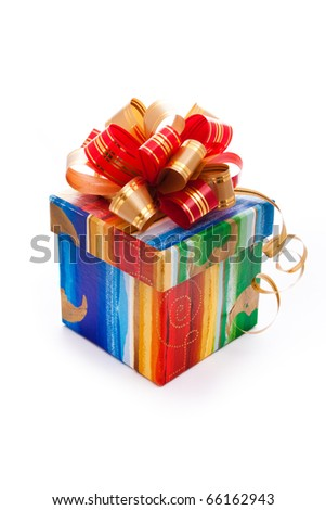 close up shot of gift christmas box isolated on white