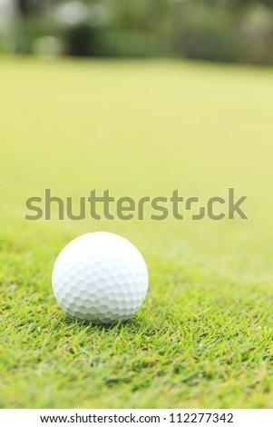 close up shot of golf ball on green grass - stock photo