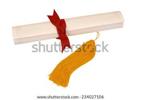 Close Up Shot Of Graduation Diploma With Red Ribbon And Yellow/ Gold Tassel On White Background - stock photo