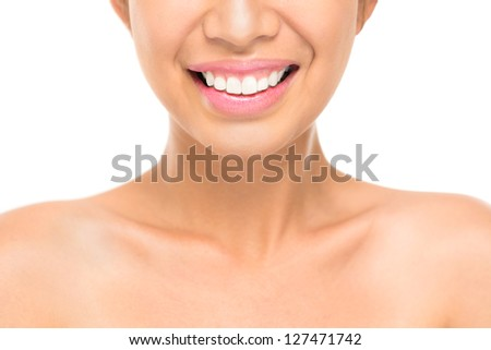 Close-up shot of healthy female smile - stock photo