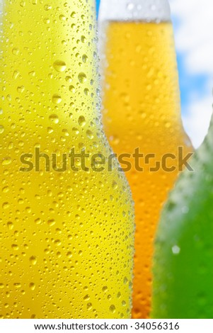 Close up shot of ice cold drinks - stock photo