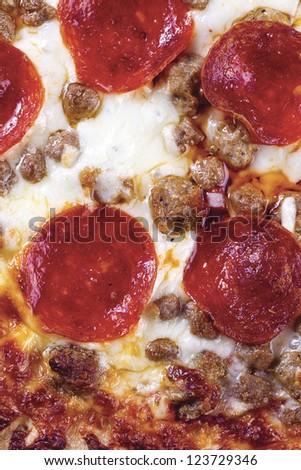 Close-up shot of Italian original pepperoni pizza - stock photo