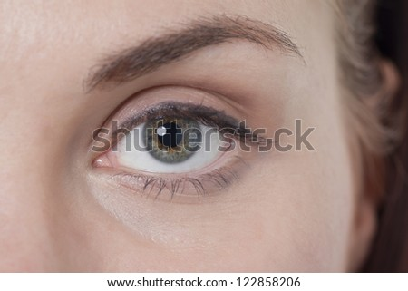 Close-up shot of left gray colored eye of a woman