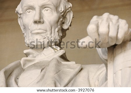 Close up shot of Lincoln in the memorial
