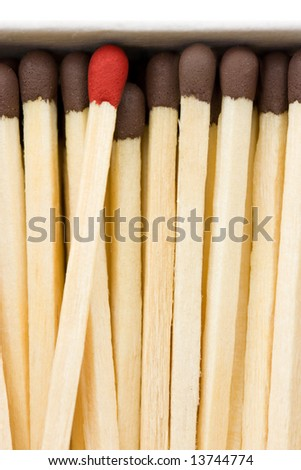 Close up shot of matches in a box - stock photo