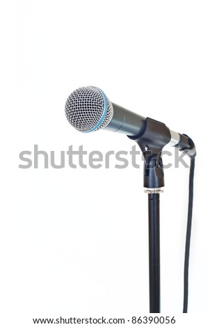 close up shot of microphone isolated on white - stock photo
