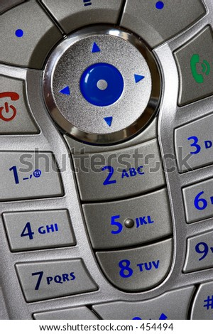 Close up shot of mobile phone keypad - stock photo