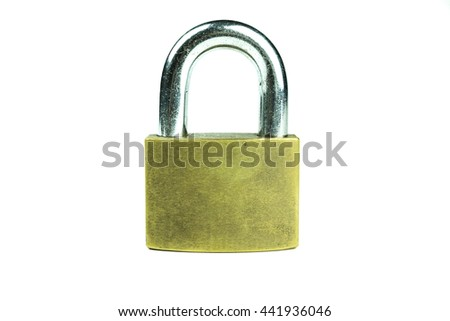 close up shot of old lock isolated on a white background