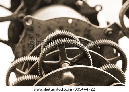 Close up shot of old telescope gears - stock photo