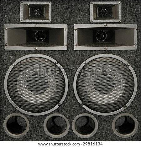 Close up shot of powerful loud speakers - stock photo