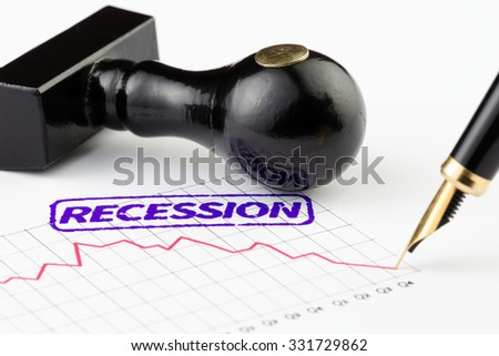 Close up shot of recession stamp on a depression graph - stock photo