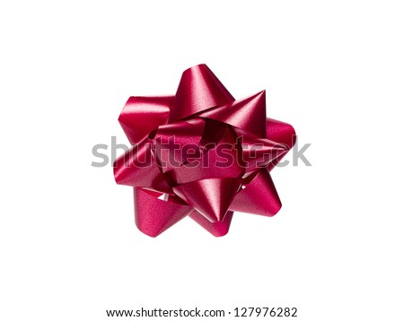 Close-up shot of red Christmas gift bow in a close-up image. - stock photo