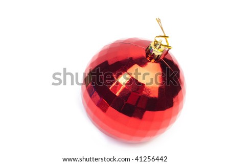 Close up shot of red Christmas toy on white background - stock photo