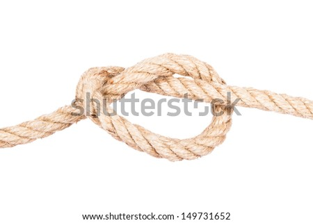 Close up shot of rope with knot, isolated on white background.
