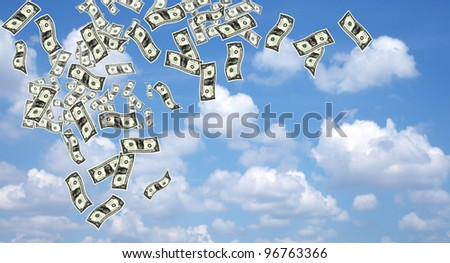close up shot of several one American dollar in blue background - stock photo