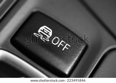 Close up shot of the ESP button in a car. - stock photo