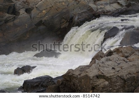 Close-up shot of the Great Falls of the Potomac River, outside of Washington, D.C. - stock photo