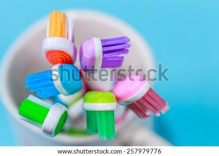 close up shot of toothbrush / toothbrush  - stock photo