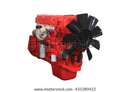 Close up shot of turbo diesel engine - stock photo