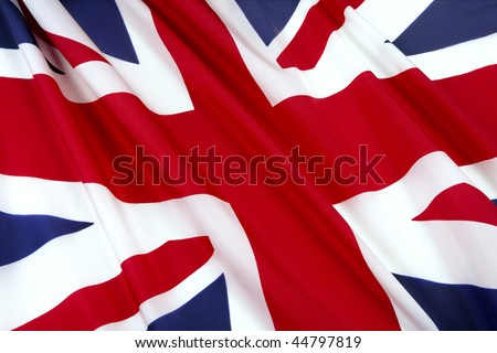 Close-up shot of wavy British flag