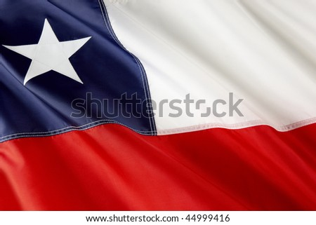 Close up shot of wavy flag of Chile - stock photo