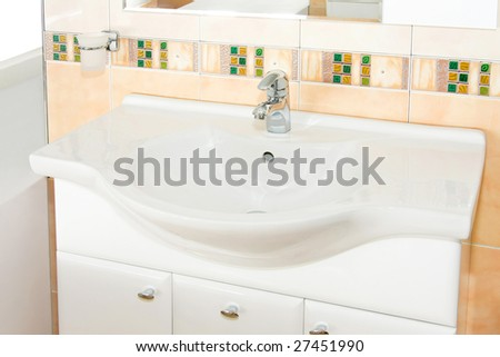 Close up shot of white bathroom sink