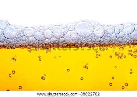close up shot of yellow beer with foam and bubbles on white background - stock photo
