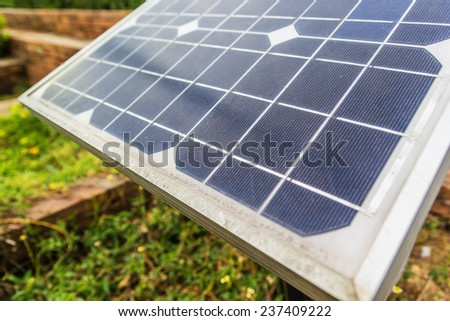 Close up shot Solar panels in a photovoltaic power plant  - stock photo
