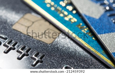 Close Up shot with Credit card - stock photo