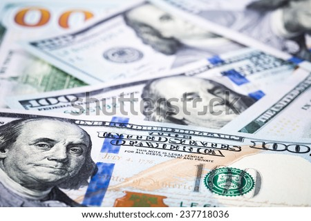 close-up shots in macro lens new one hundred dollars banknote - stock photo