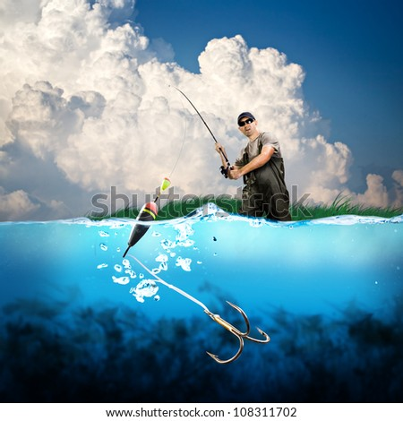 close-up shut of a fish hook under water - stock photo