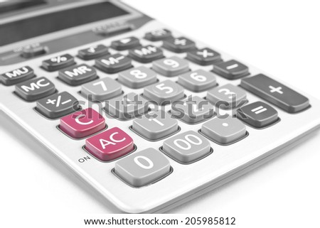 close up silver calculator on white background
