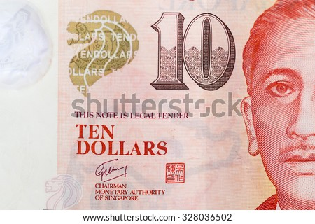 close up 10 singapore  banknote - stock photo