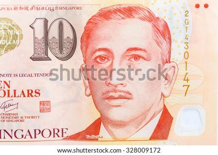 close up 10  singapore money  - stock photo
