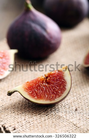 close up slice of fig rustic background