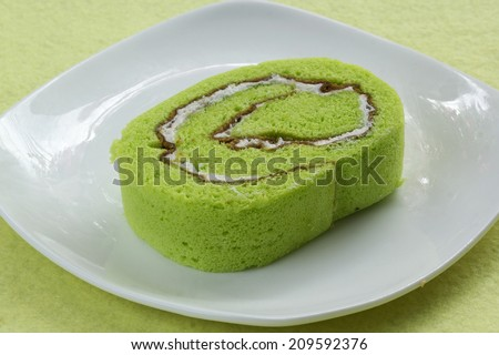 close up slice Roll pandan flavored cake